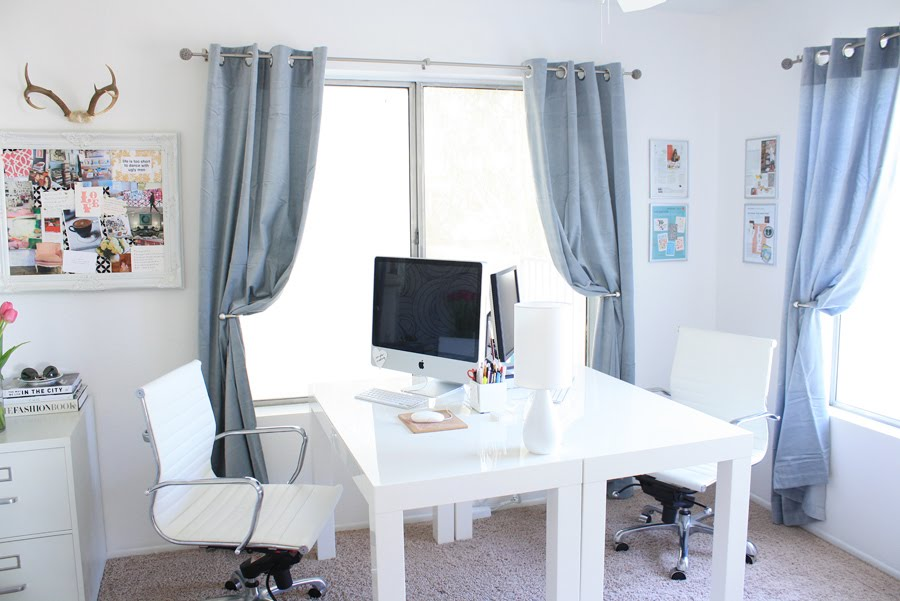 don39t love homeoffice. I Love The Idea Of Pushing Two Parsons Desks Together To Create One  Gigantic Workspace. Chic Window Treatments And Perfect Inspiration Board Don\u0027t Hurt Don39t Homeoffice A
