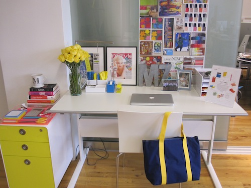 A Colorful Inspiration Board, Fresh Flowers, And A Lime Green File Cabinet  Make Meredithu0027s Workspace Creative And Functional.