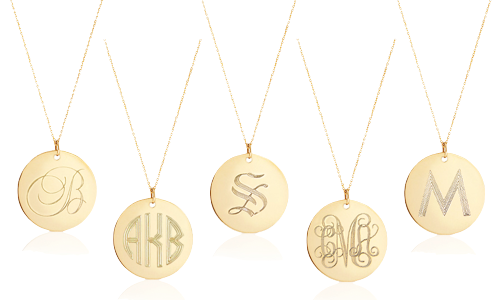 Pradman jewels monogram necklace giveaway design darling one lucky winner will receive a 14 karat gold disc necklace monogrammed in the style of your choice to enter please follow the steps in the rafflecopter mozeypictures Choice Image