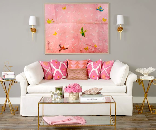 paule marrot painting pink framed acrylic
