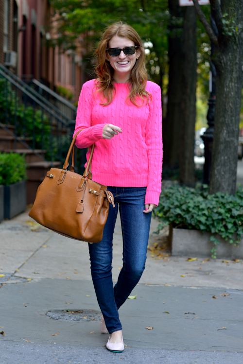polo ralph lauren cashmere cable knit sweater hot pink