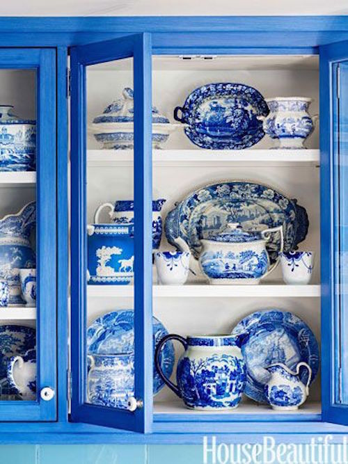 blue and white china cabinet