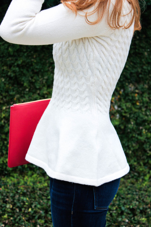 outfit  white peplum sweater
