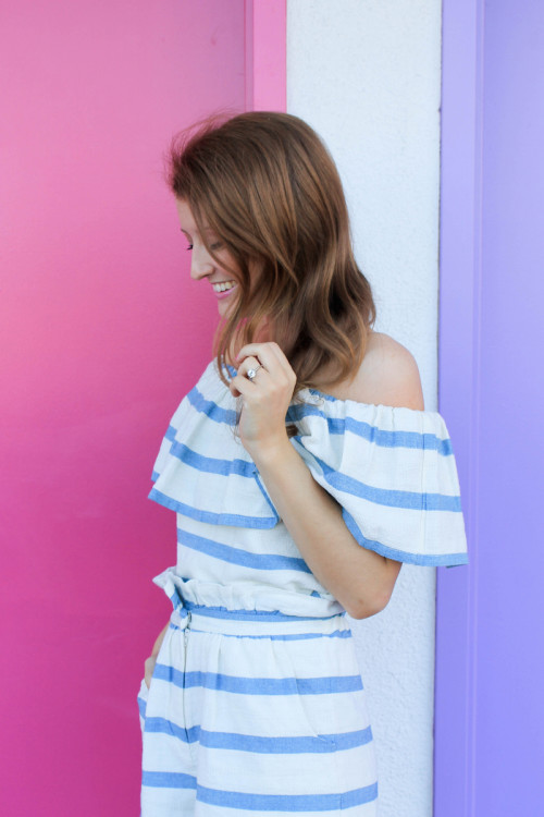 mara hoffman striped ruffle top