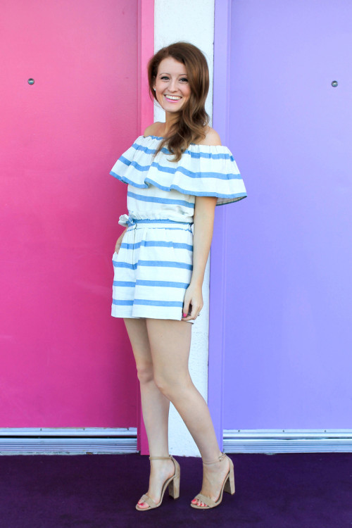 mara hoffman striped top and shorts