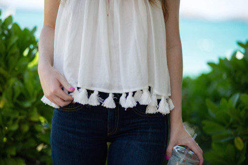 apiece apart white tassel top