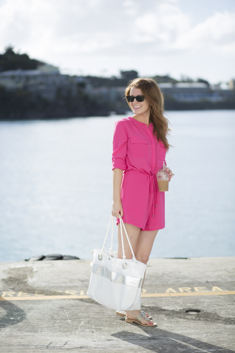 design darling hot pink romper