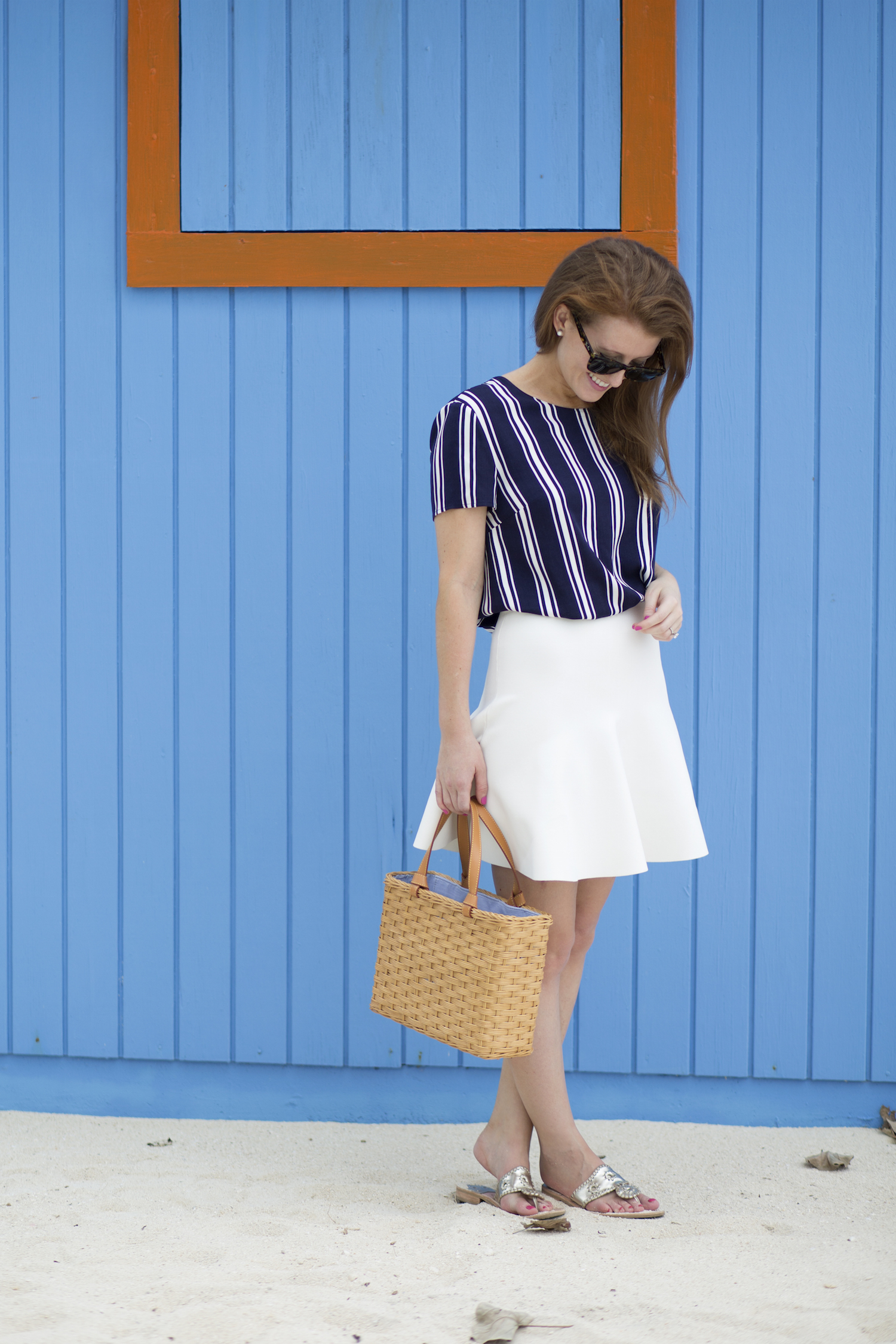 design darling striped top white skirt