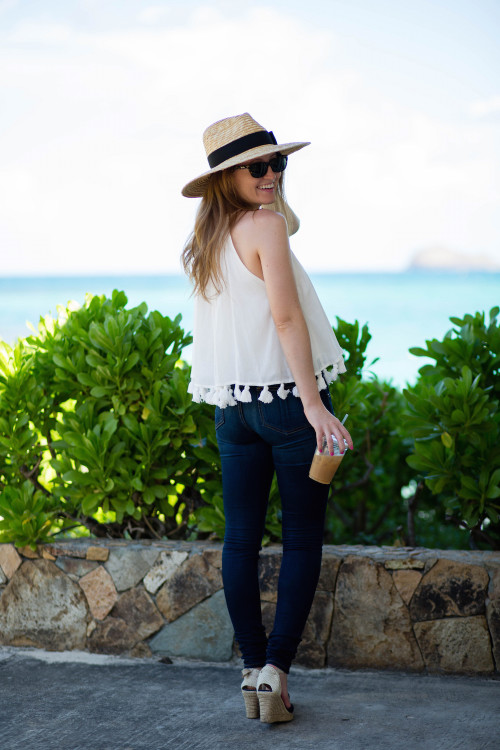design darling white tassel top