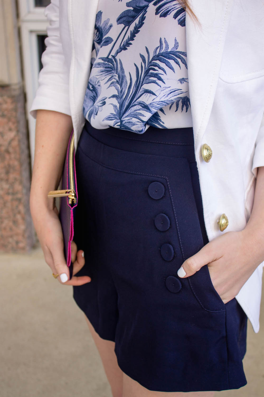 OUTFIT: WHITE BLAZER   NAVY SAILOR SHORTS - Design Darling