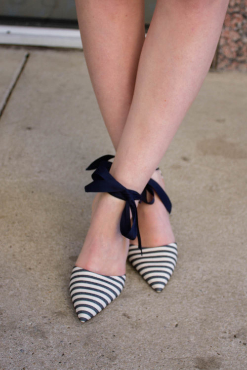 design darling j.crew navy and white striped bow heels