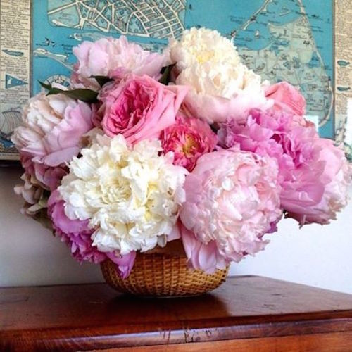 A wedding floral arrangement featuring garden roses and pink and white peonies in a Nantucket lightship basket.