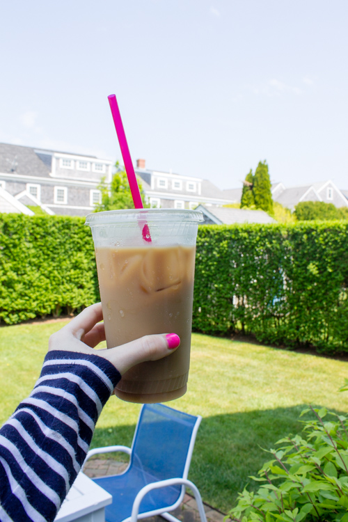 A coffee from Espresso To Go in a Naushop backyard on Nantucket featured on Design Darling
