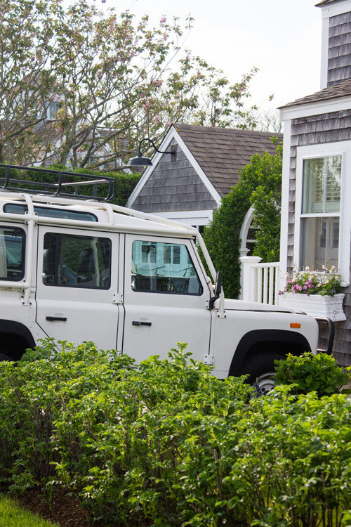 A white Land Rover Defender in 'Sconset on Nantucket