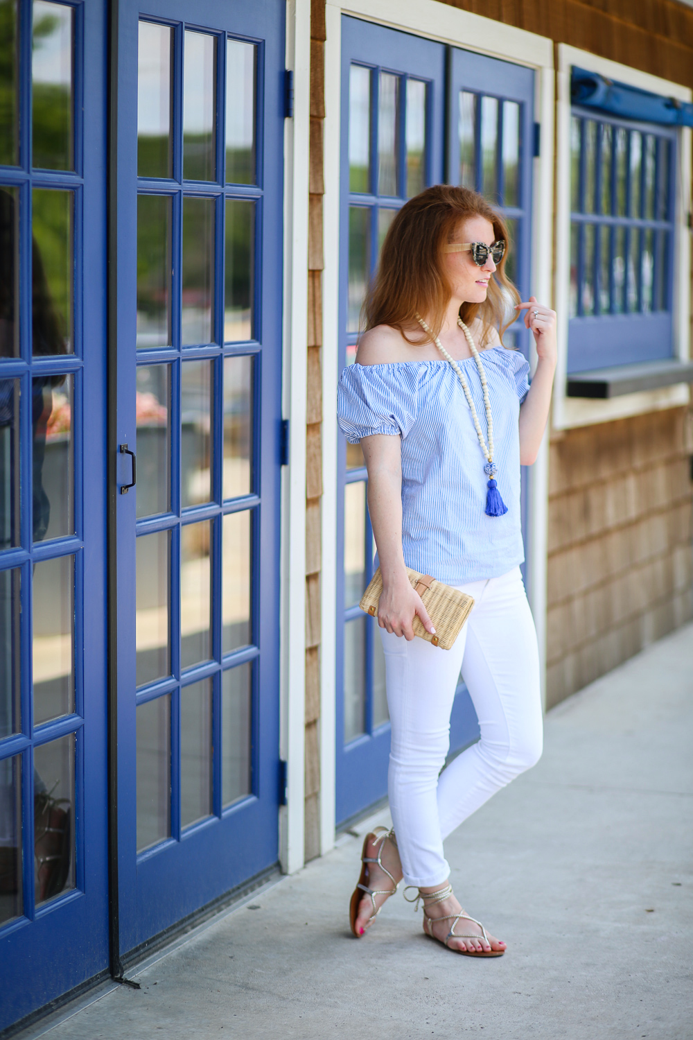 cade98b0216d Seersucker off the shoulder top with white skinny jeans and steve madden  werkit gladiator sandals in