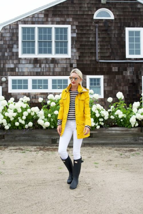 atlantic pacific yellow raincoat white jeans hunter rain boots