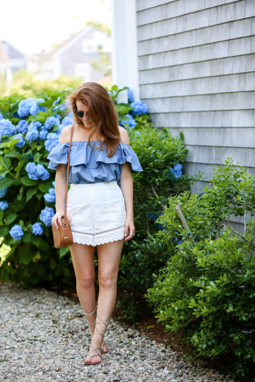 design darling in a chambray off the shoulder top and white eyelet shorts