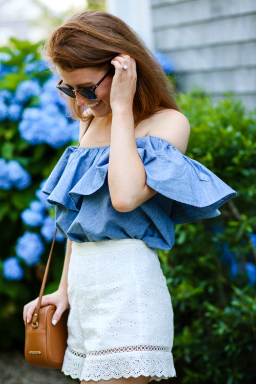 design darling wears a rebecca minkoff chambray off the shoulder top and endless rose eyelet shorts