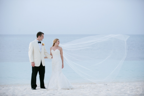 long veil on the beach in lyford cay cameron & kelly studio
