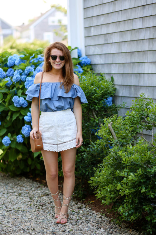rebecca minkoff chambray off the shoulder top with endless rose eyelet shorts and steve madden werkit sandals
