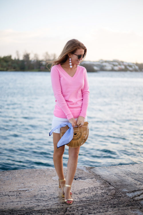 design-darling-bubble-earrings-j-crew-pink-cashmere-v-neck-sweater-white-jean-shorts-cult-gaia-ark-bag-loeffler-randall-gold-emi-sandals-in-bermuda