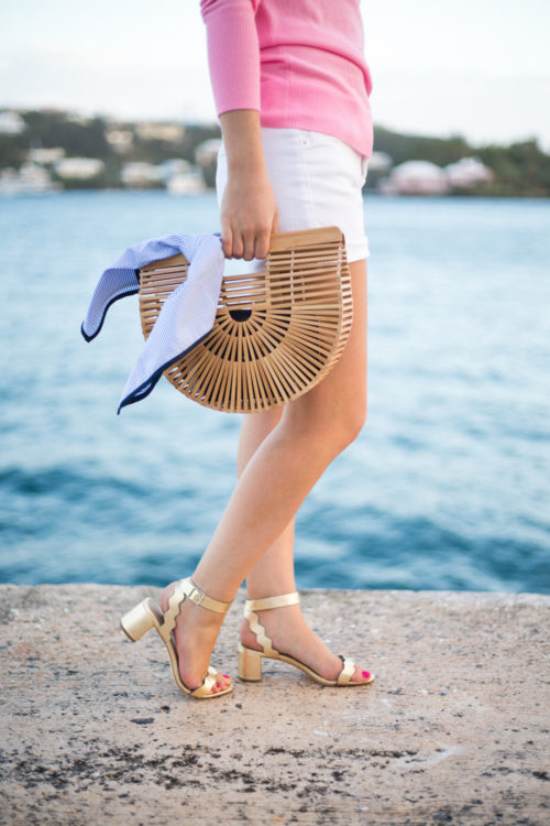 loeffler-randall-emi-city-sandals-with-pink-sweater-white-jean-shorts-and-cult-gaia-bag-on-design-darling-in-bermuda