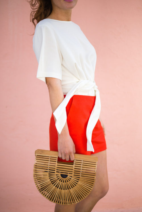 club-monoco-telaim-top-with-red-shorts-and-cult-gaia-ark-bag