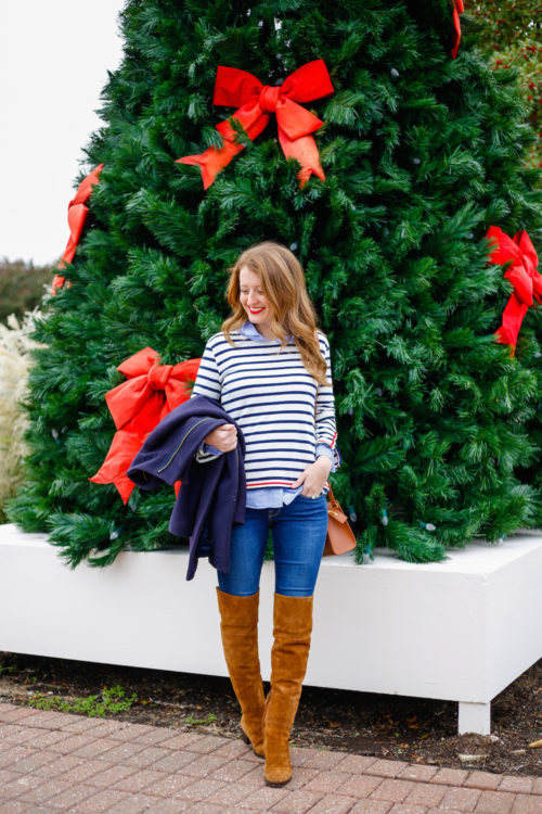 j-crew-striped-shirt-with-j-crew-over-the-knee-boots