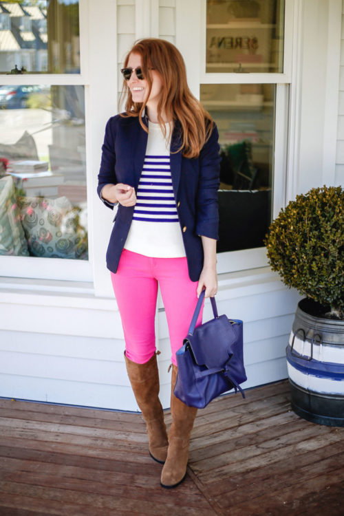 navy-blazer-striped-sweater-hot-pink-jeans-and-riding-boots-on-design-darling-1024x1535