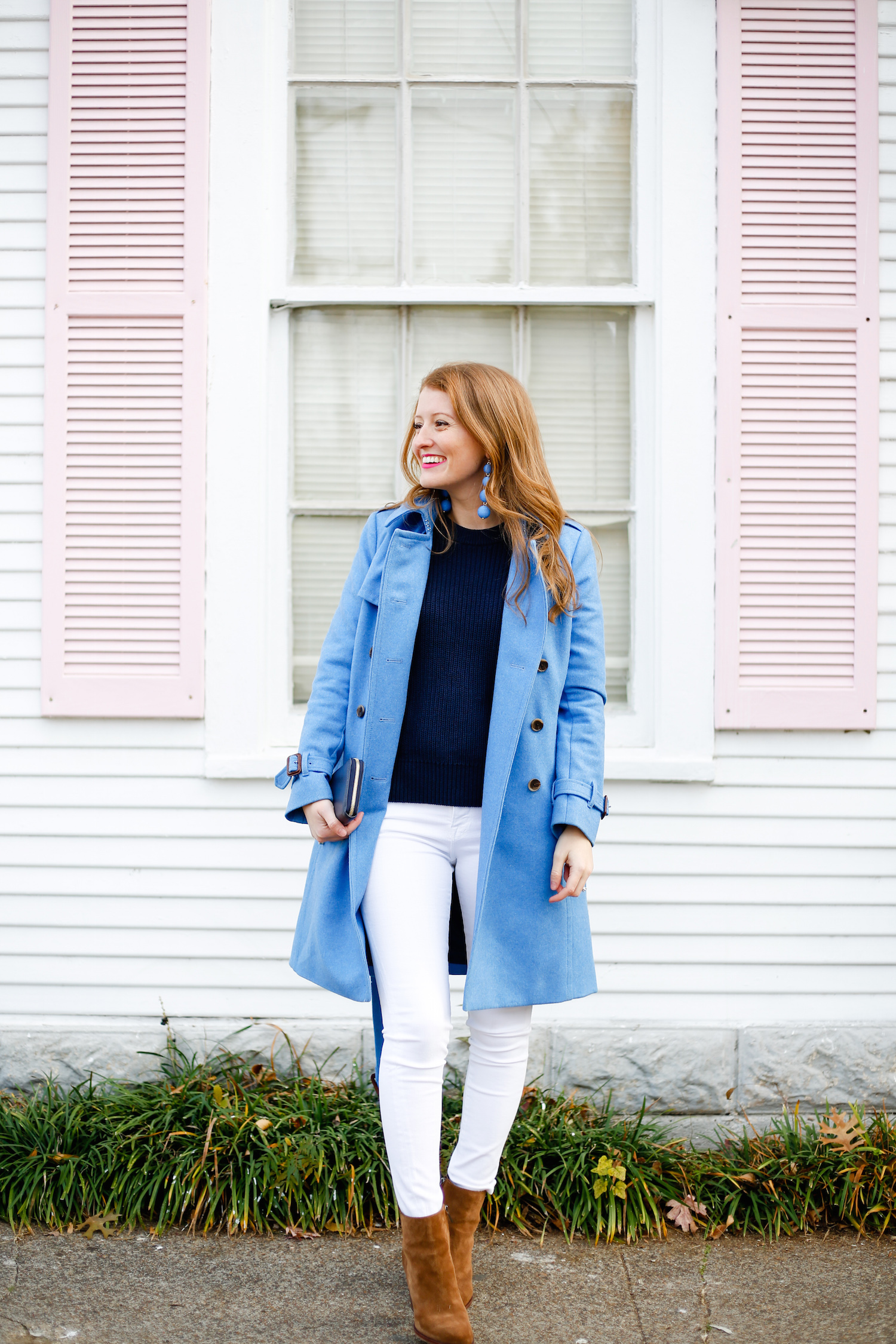 Design Darling Bubble Earrings J Crew Wool Trench Coat Frame White Jeans Sam Edelman Blake Booties