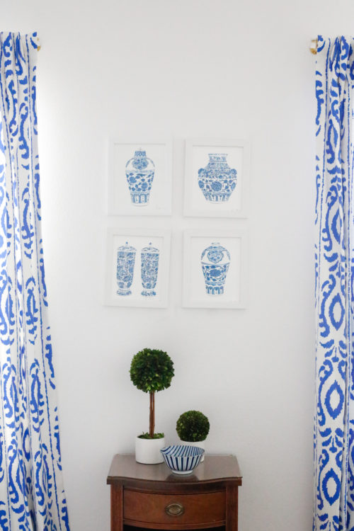 design-darling-lucite-curtain-rods-blue-ikat-drapes-ginger-jar-prints