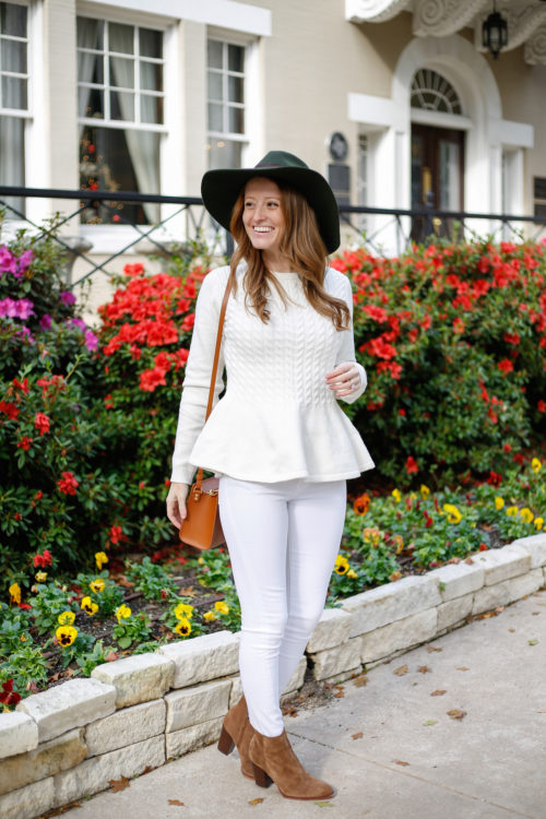 design-darling-ted-baker-peplum-sweater-with-white-jeans-and-sam-edelman-suede-booties