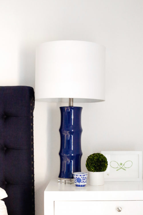 horchow navy bamboo lamps