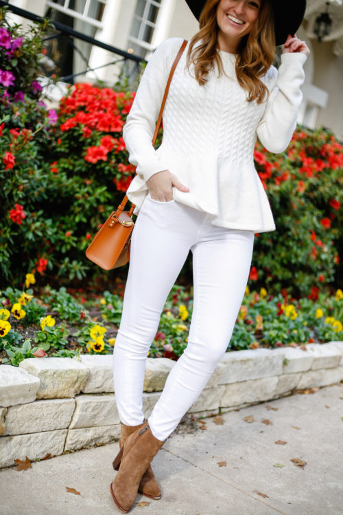 ted-baker-peplum-sweater-with-white-jeans-and-sam-edelman-suede-booties