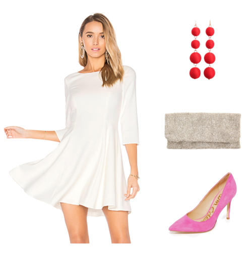 valentine's day outfit with white dress and pink heels