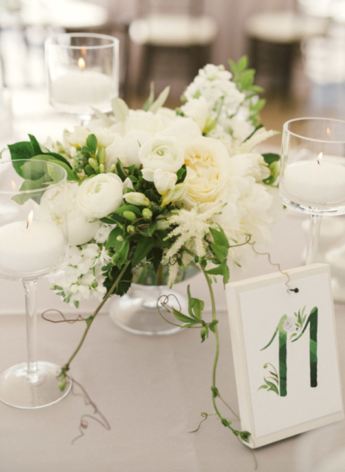 watercolor table numbers for wedding reception by kearsley lloyd
