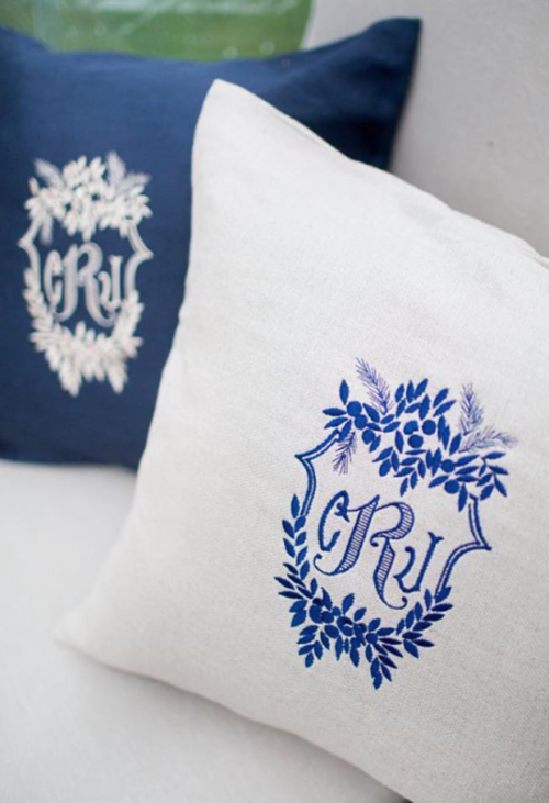 wedding crest monogrammed pillows by kearsley lloyd and the monogrammed home