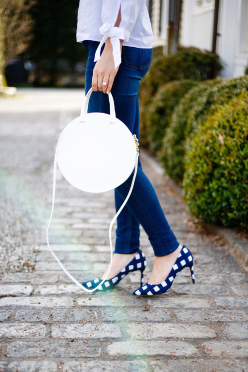 clare v white circle bag and banana republic gingham heels