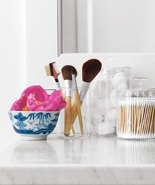 clear containers for makeup brushes cotton balls and q tips