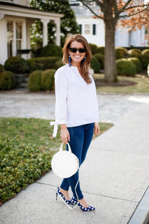 madewell tie sleeve blouse clare v white circle bag and banana republic gingham heels on design darling