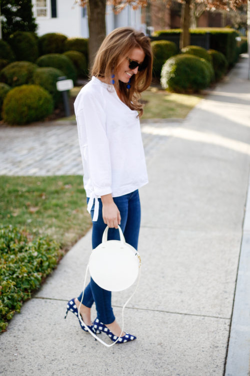 madewell tie sleeve blouse clare v white circle bag banana republic gingham heels