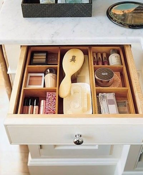 organized bathroom drawers with wood dividers
