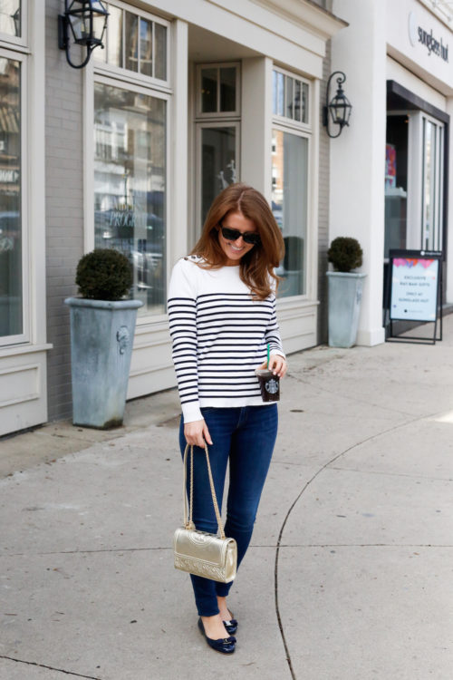 petit bateau striped sweater and gold tory burch bag on design darling