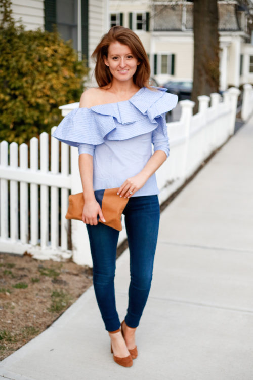 stylekeepers ruffle top in blue and white stripe on design darling