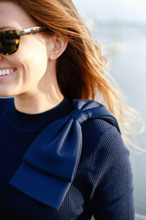 ted baker navy bow sweater on design darling