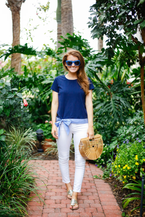 jcrew side tie t-shirt bow top and cult gaia ark bag