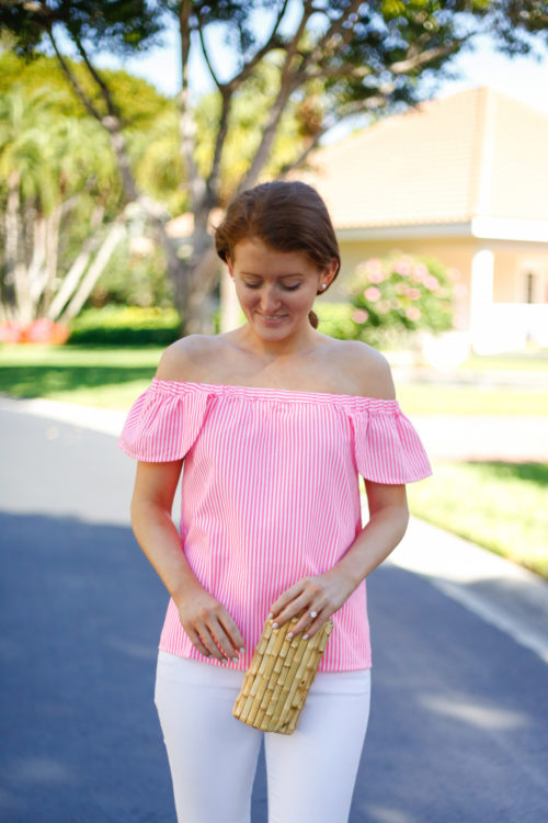 vineyard vines off the shoulder top with bamboo clutch