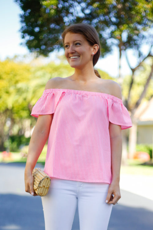 vineyard vines oxford stripe off the shoulder top