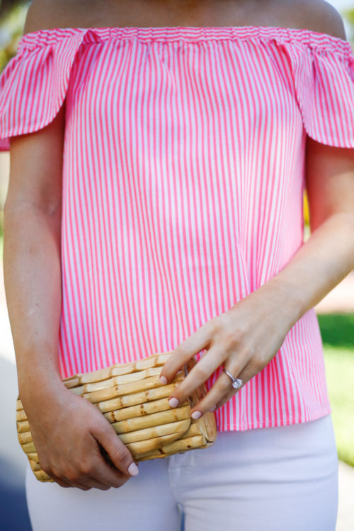 vineyard vines pink off the shoulder top with bamboo clutch