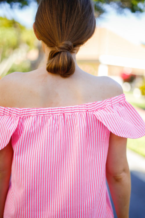 vineyard vines seersucker off the shoulder top